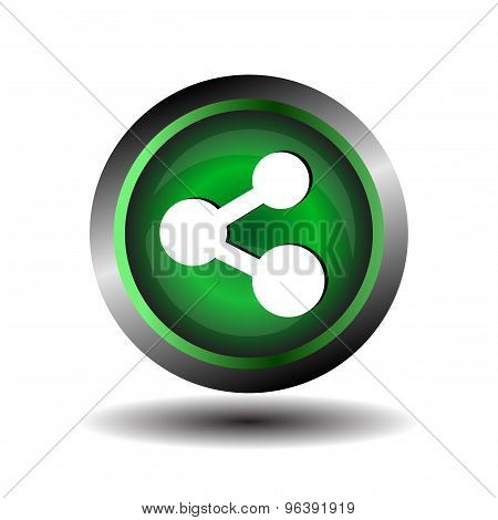 Share Icon - Share Icon button green glossy vector