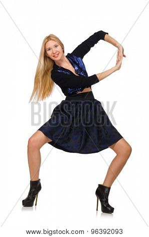 Blond hair girl in dark blue skirt isolated on white