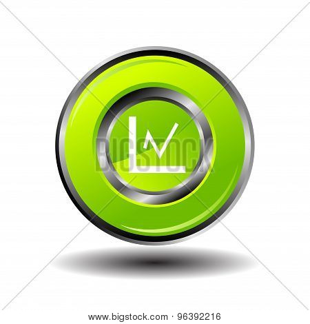 Statistics icon glossy green button vector