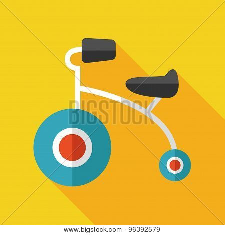 Kids Tricycle Flat  Icon With Long Shadow