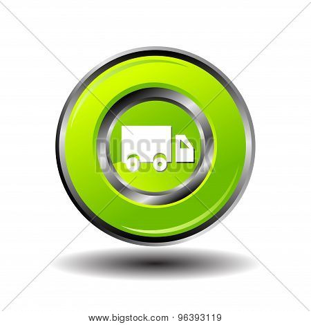 Truck icon. Truck icon on glossy green round button vector