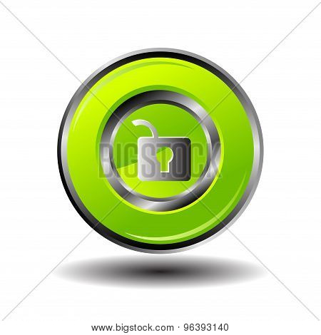 Unlock vector - Unlock Circular green Vector Web Button Icon