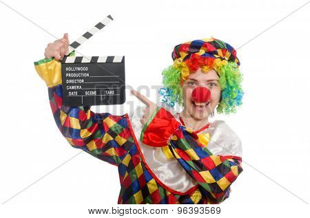 Clown with movie clapper isolated on white