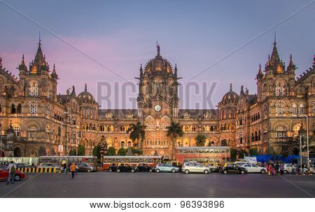 MUMBAI, INDIA - 17 JANUARY 2015: Chhatrapati Shivaji Terminus at sunset. It serves as headquarters of the Central Railways.