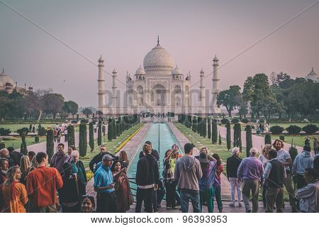 AGRA, INDIA - 28 FEBRUARY 2015: View of Taj Mahal in front of the Great Gate. South side. Post-processed with grain, texture and colour effect.