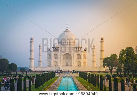 AGRA, INDIA - 28 FEBRUARY 2015: View of Taj Mahal in front of the Great Gate. South side.