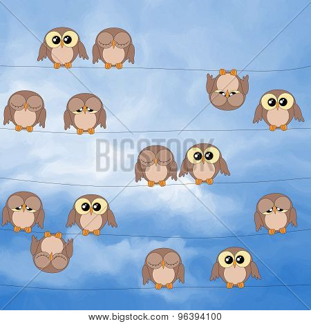 Illustration Of Cute Owls Sitting On Power Lines