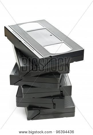 Stack Of Video Home System Movie Cassettes