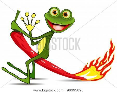 Frog On Hot Pepper