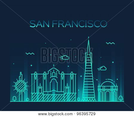 San Francisco City Trendy vector line art style