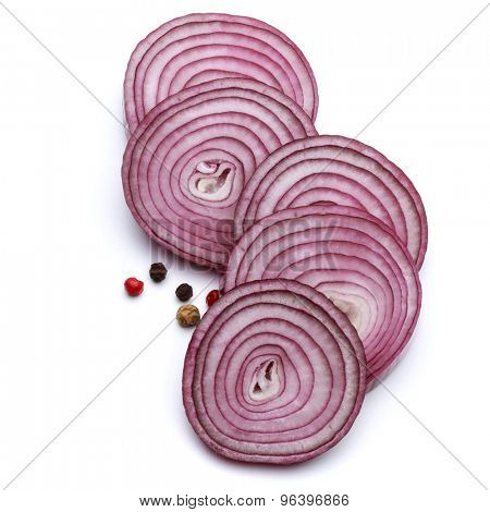 Sliced red onion rings isolated on white background cutout