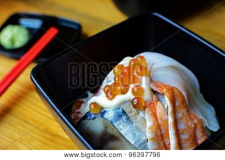 Bowl Of Japanese Mix Sashimi Don On Rice