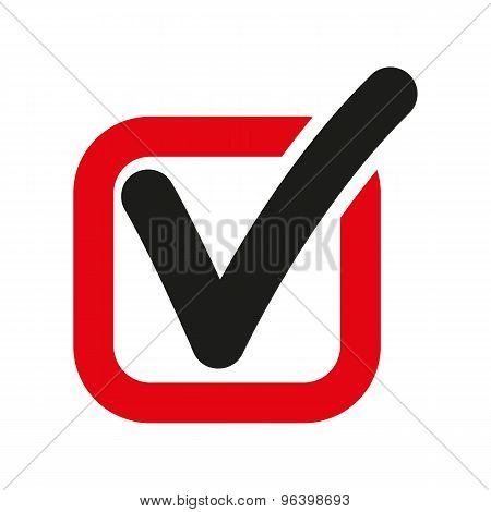 The check icon. Checkmark and checkbox, yes, voting symbol. Flat