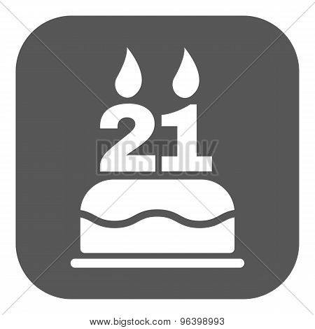 The birthday cake with candles in the form of number 21 icon. Birthday symbol. Flat