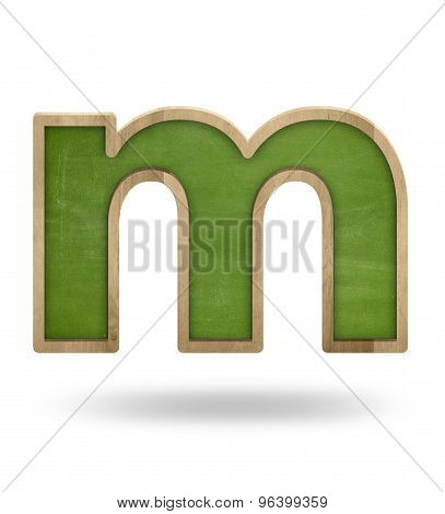 Green blank letter m shape blackboard