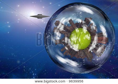 Saucer Craft Near Large Interstellar City Ship