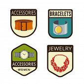 picture of vintage jewelry  - Accessories Vintage Labels vector icon design collection. Shield banner sign. Bracelet, Watch, Jewelry necklace, strap flat icons. - JPG