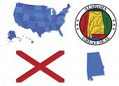 stock photo of alabama  - Vector Illustration of state Alabama, contains: High detailed map of USA High detailed flag of state Alabama High detailed great seal of state Alabama Alabama state, shape - JPG