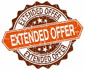 picture of extend  - extended offer orange round grunge stamp on white - JPG