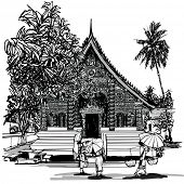 image of buddhist  - Buddhist temple in Asia with monks  - JPG