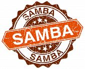 image of samba  - samba orange round grunge stamp on white - JPG