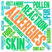 pic of allergies  - Allergies word cloud on a white background - JPG