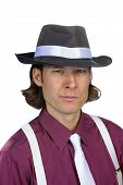 picture of fedora  - A man in a Fedora against a white background - JPG