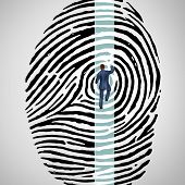 picture of fingerprint  - Personal security challenge concept as a person climbing a finger print or fingerprint as a ladder as a symbol for verification of information encryption and private data protection risk or managing password protection on the internet - JPG
