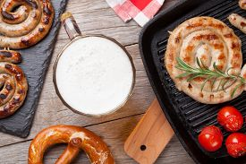 stock photo of pretzels  - Beer mug - JPG