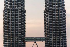 stock photo of petronas towers  - the twin towers in kuala lumpur malaysia - JPG
