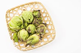 stock photo of butterbur  - Several harvested green butterbur sprouts in the bamboo sieve on a white background - JPG