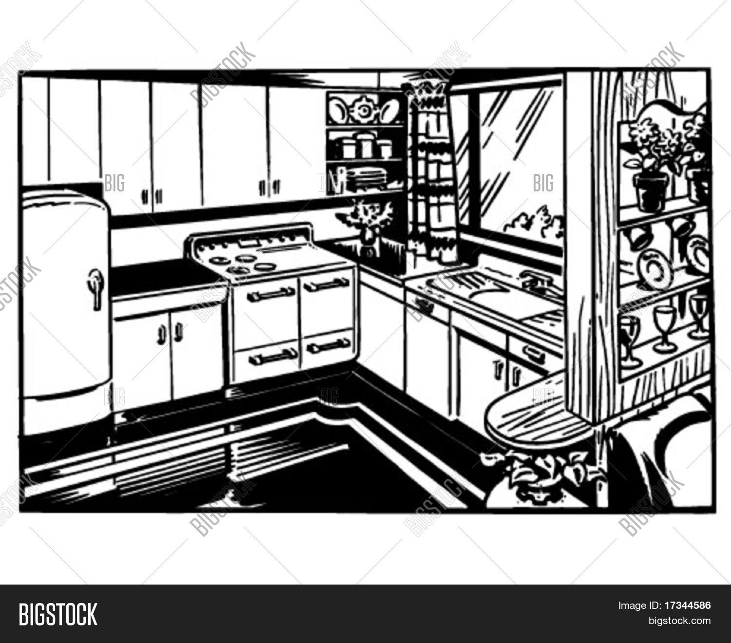 Kitchen Window Clip Art: Retro Kitchen - Clip Art Vector & Photo
