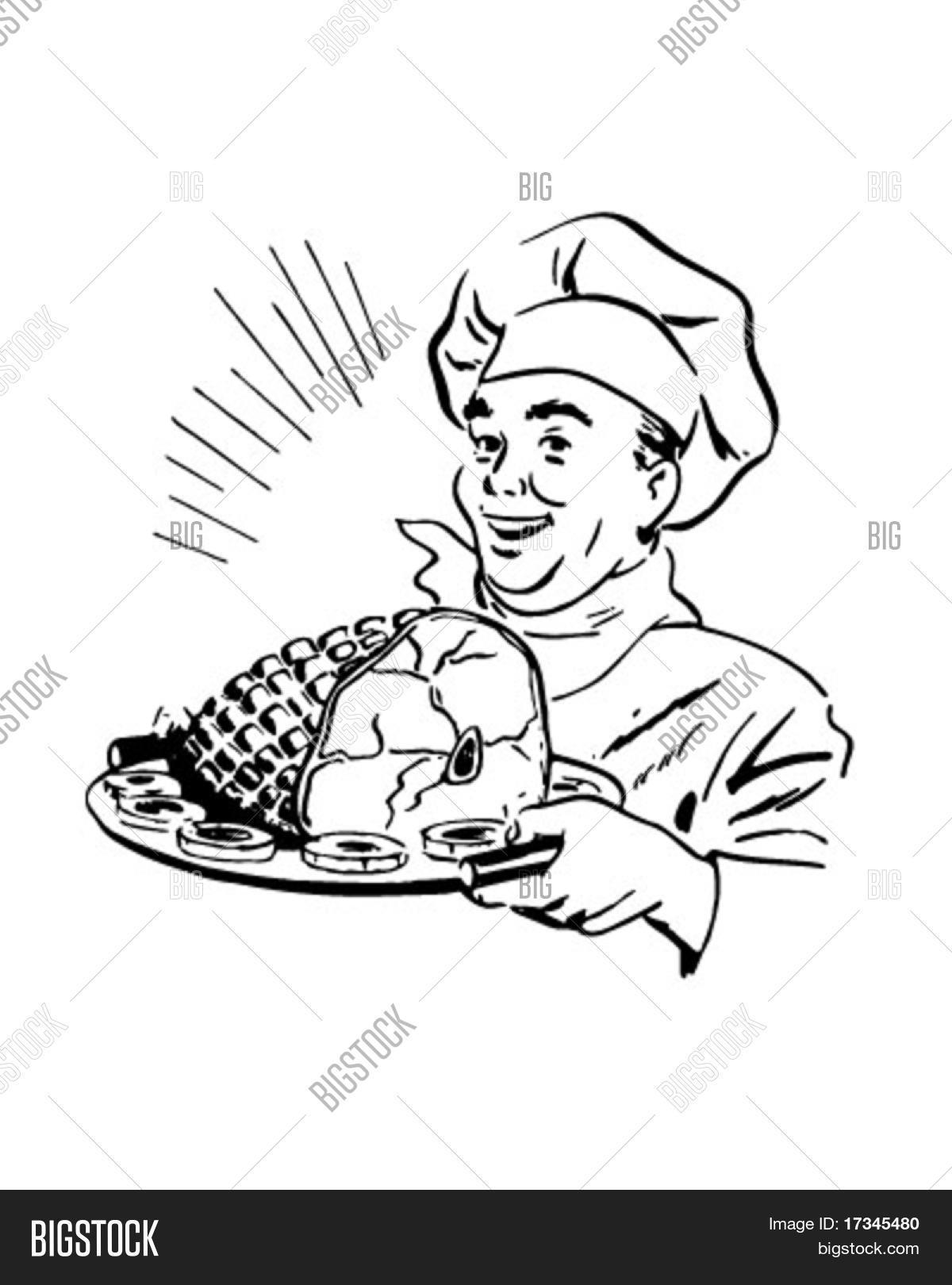 Chef With Ham - Retro Clip Art Stock Vector & Stock Photos | Bigstock