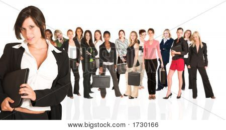 Business Group Of Isolated Woman Only