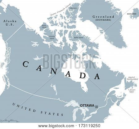 Canada Political Map With Capital Ottawa National Borders And Its Neighbors Country In Northern