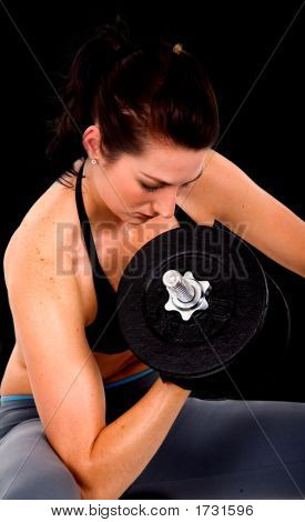 Girl Exercising With Free Weights