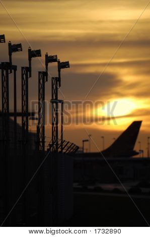 Sunset And Airport