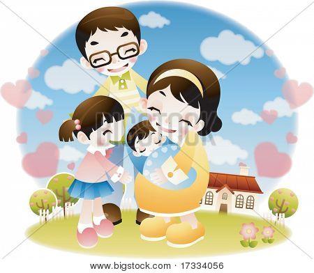 Felices padres y niños encantadores