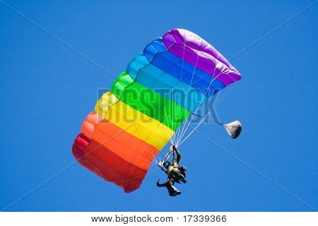 parachuting freefall in blue sky