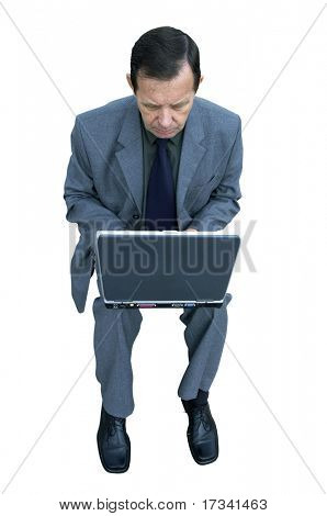 man and laptop isolated with clipping path,just make selection on work path,delete white background in Photoshop and insert wherever you like!