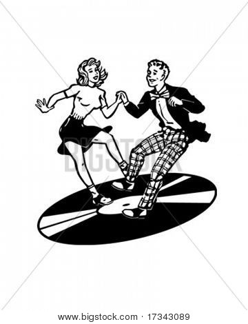 Retro bailarines en un disco de vinilo - Retro Clip Art