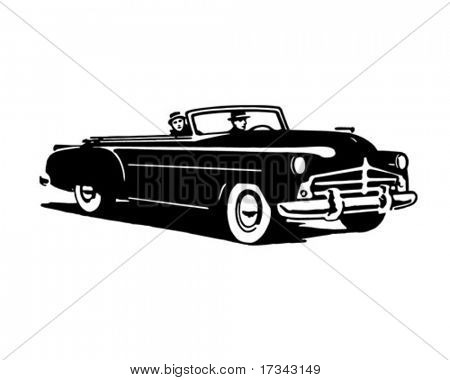 Convertible Cruising - Retro Clip Art