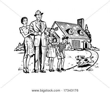 Happy Family - Retro Clip Art