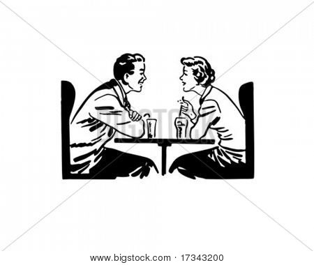 A Date Over Sodas - Retro Clip Art
