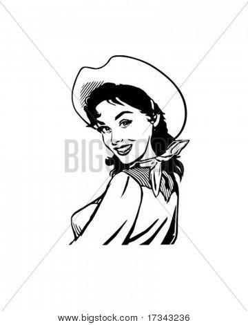 Cute Cowgirl 2 - Retro Clip Art