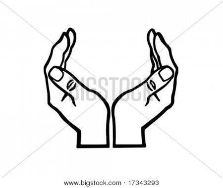 Cupped Hands - Retro Clip Art