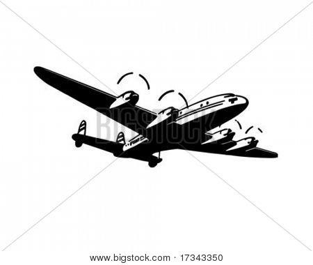 Avião de passageiros - Retro Clip-Art