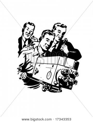 TV Crew - Retro Clip Art
