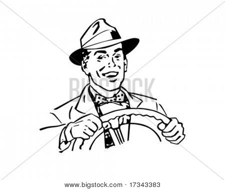 Happy Driver - Retro Clip Art