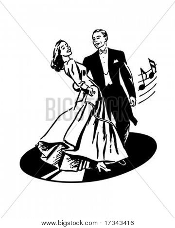 Dancers On A Record - Retro Clip Art